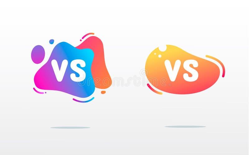 Set versus logo vs listy dla sport?w i walki rywalizacji P?aski prosty projekt MMA, bitwa, vs dopasowanie, gemowy pojęcie royalty ilustracja