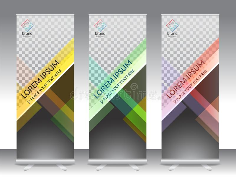 Set of vertical abstract display banner stand or roll up design royalty free illustration