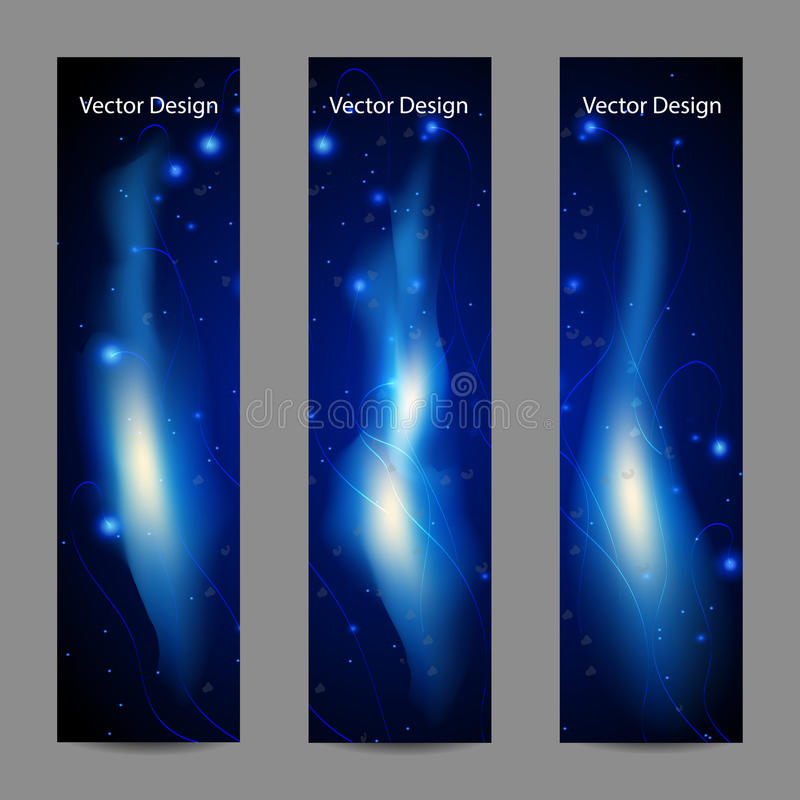 Set of vertical banners with abstract blue fire. On black background royalty free illustration