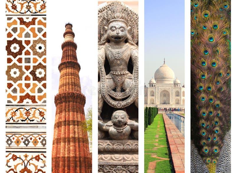 Set of vertical banners with famous landmarks of India. Qutub-minarin New Delhi, Taj Mahal in Agra, sculpture of hindu god Narasimha, marble mosaic, feathers stock image