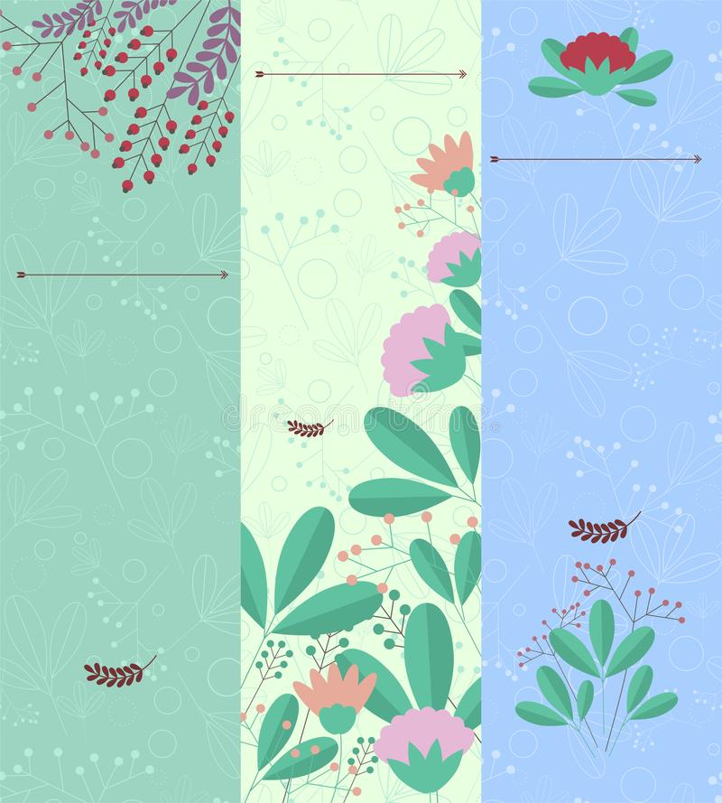 Set of vertical banners with floral elements and place for your text. stock illustration