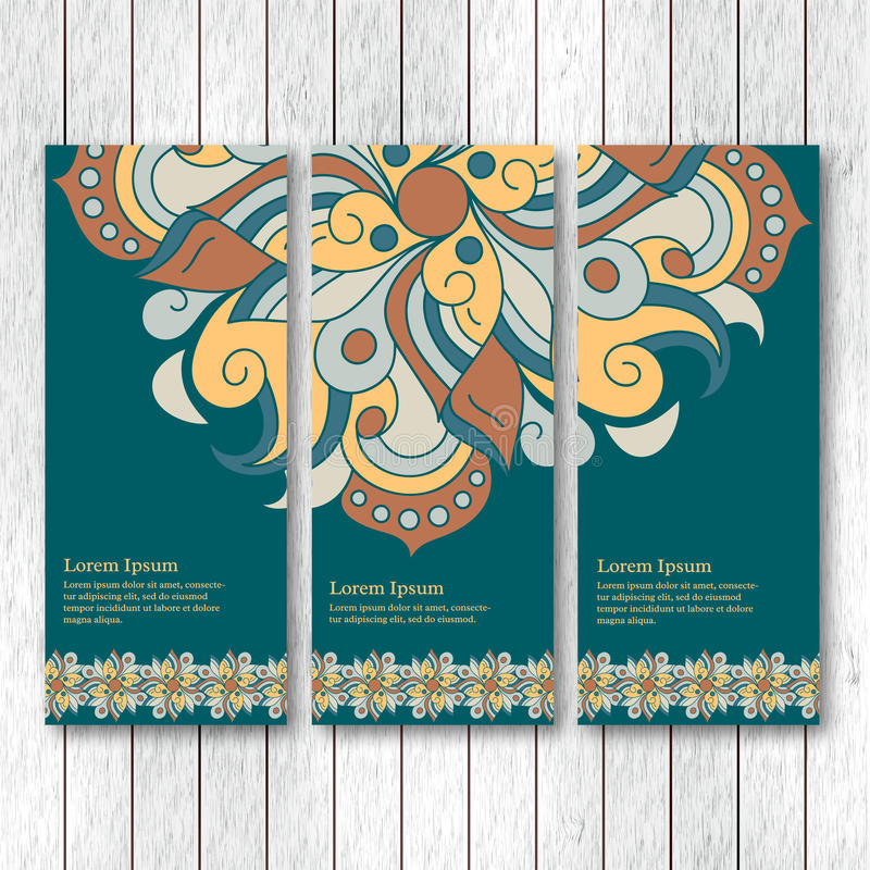 Set of vertical banners, flyers, cards with hand drawn abstract vector illustration
