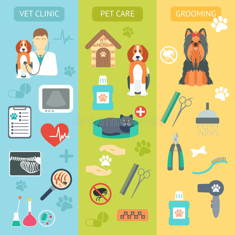 Set of vertical banners. Pet care. Vet clinic. Grooming. Flat design. Vector royalty free stock photography