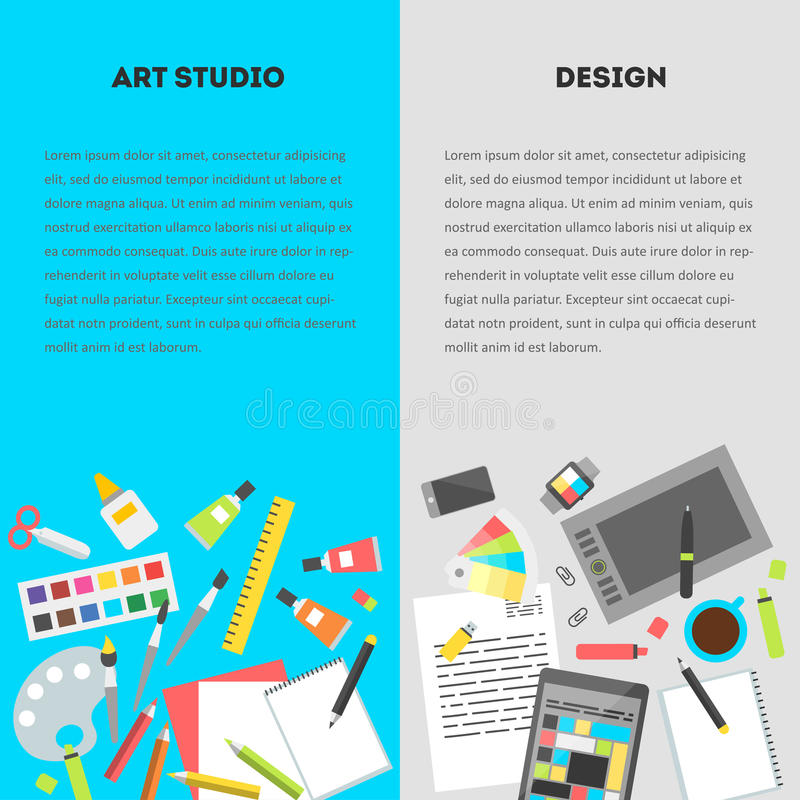Set vertical banners workplace of a designer. Set vertical banners, flat design vector illustration of modern creative office workspace, workplace of a designer royalty free illustration