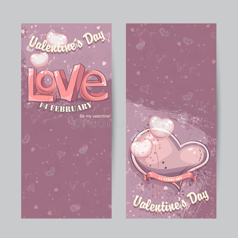 Set of vertical cards for Valentine's Day stock illustration