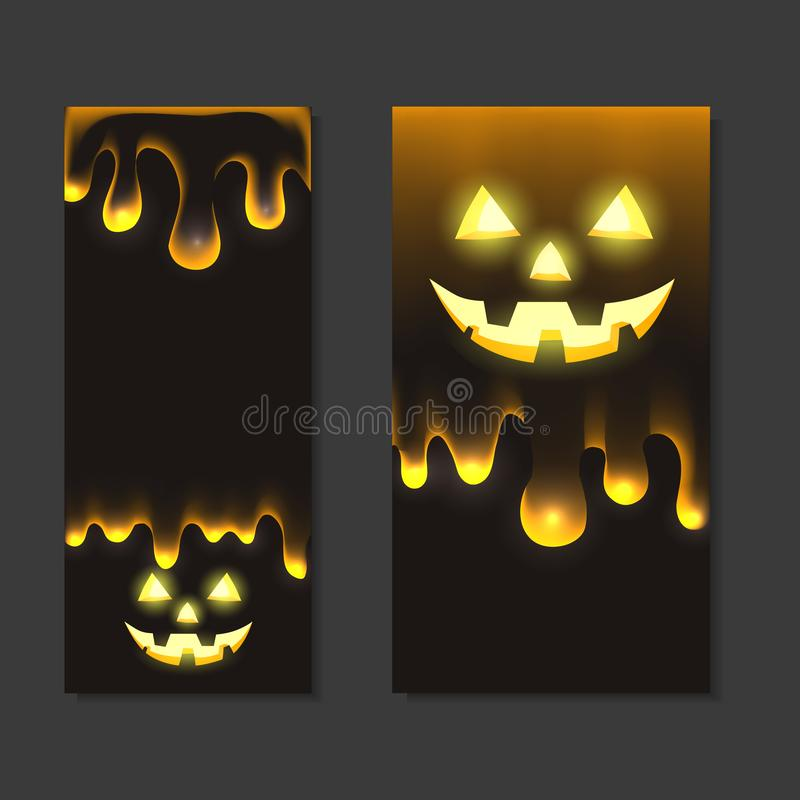 Set of vertical halloween banners with jack lamp and flowing drops of transparent slime on a dark background. Holiday card. Vector royalty free illustration