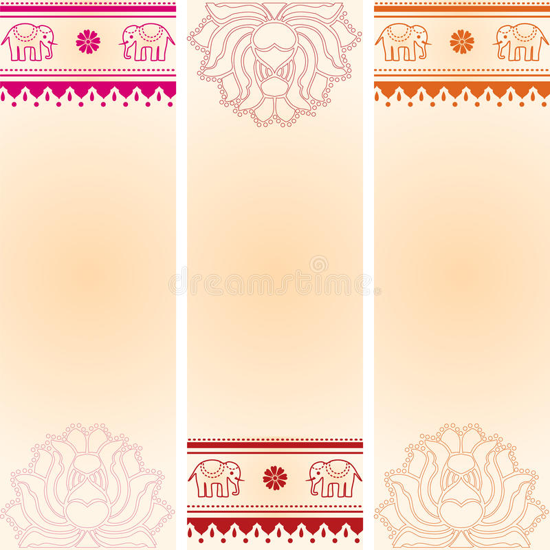 set of vertical lotus and elephant indian banners stock
