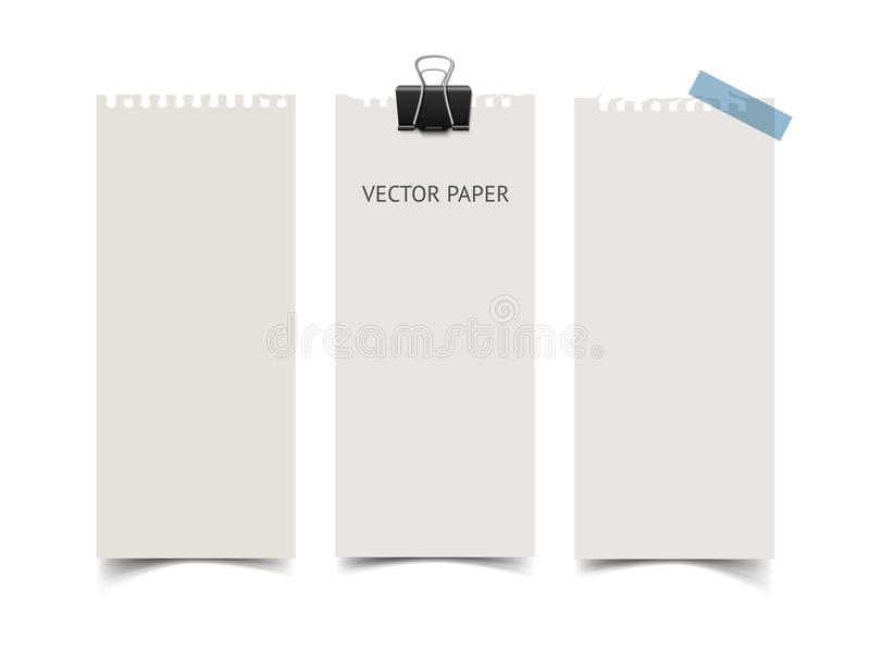 Set of vertical paper card banners. Realistic vector notepaper wit torn edges stock illustration