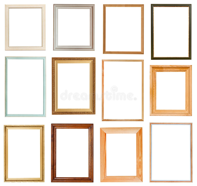 Set of vertical picture frames stock images