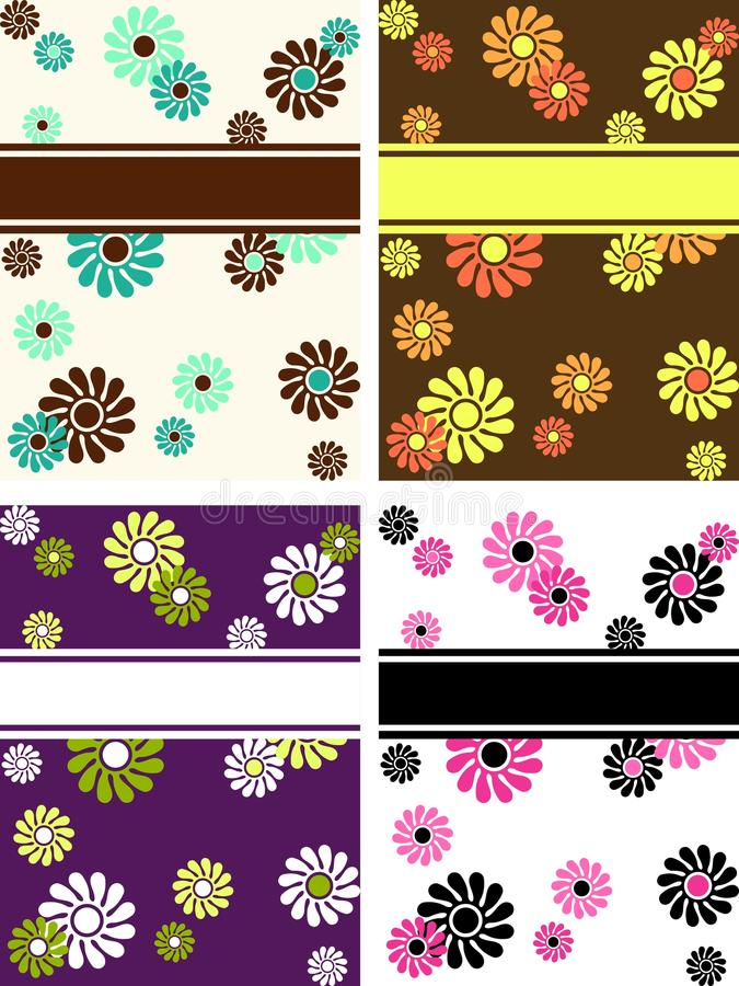 Set of vertical retro banners with large flowers vector illustration