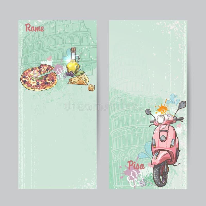 Set verticall sztandary Włochy Miasta Rzym i Pisa z wizerunkiem różowego moped, pizzy, sera i oleju puszki, ilustracja wektor