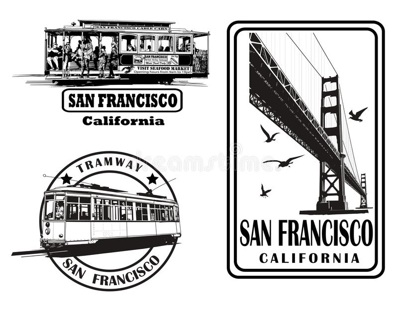 Set of very detailed logos about San Francisco royalty free illustration