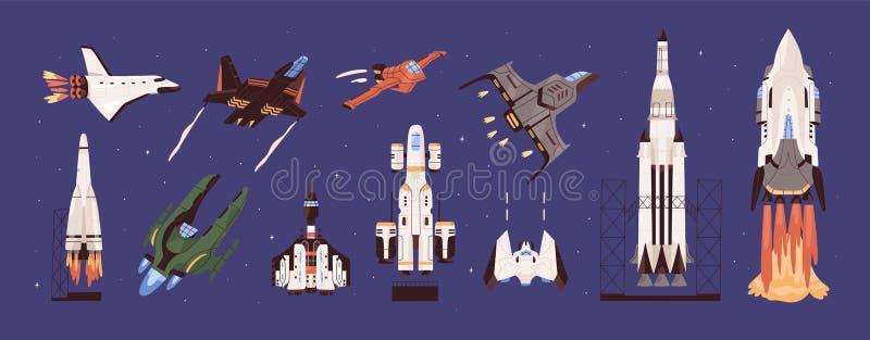 Set vettoriale razzi e navi spaziali Esplorazione planetaria e viaggio Trasporto cosmico Veicoli illustrazione vettoriale