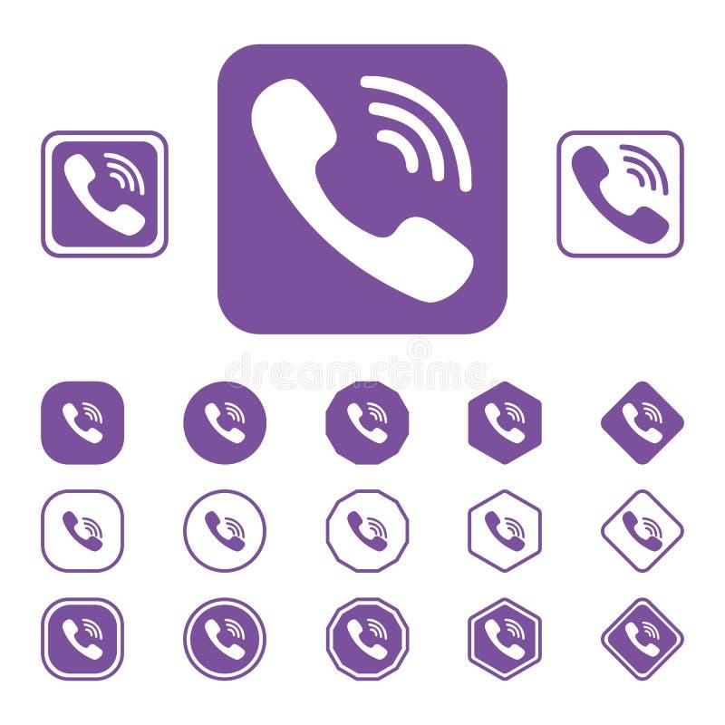 Set of Viber flat icon on a white background royalty free stock image