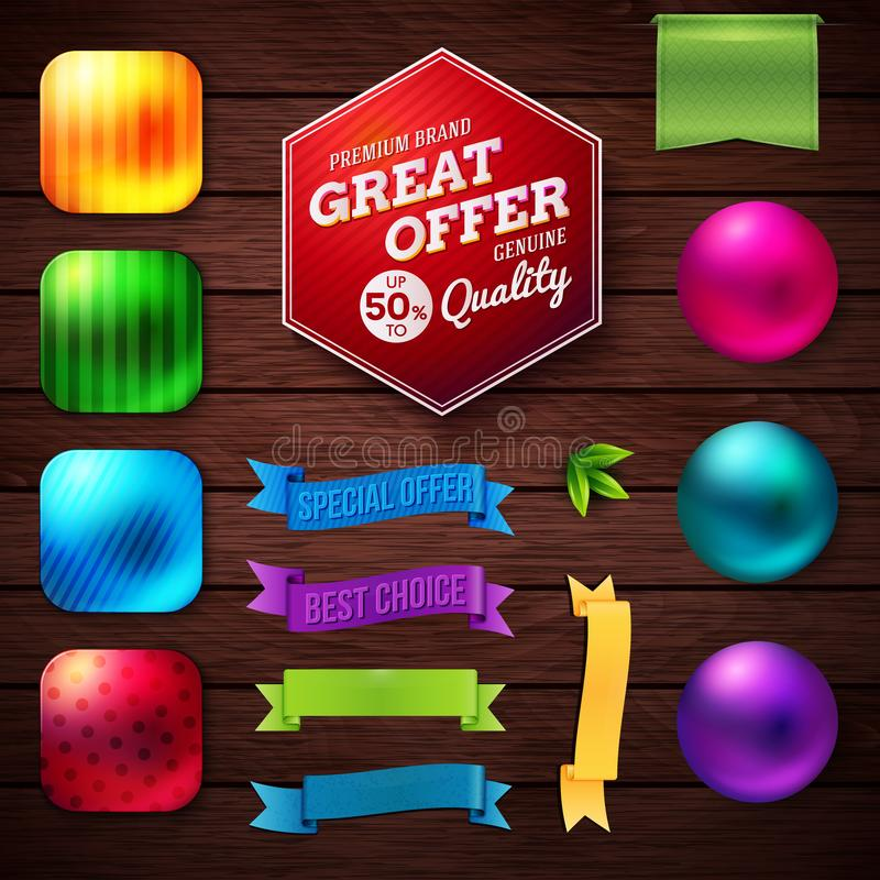 Set of vibrant sale buttons and banners. stock illustration