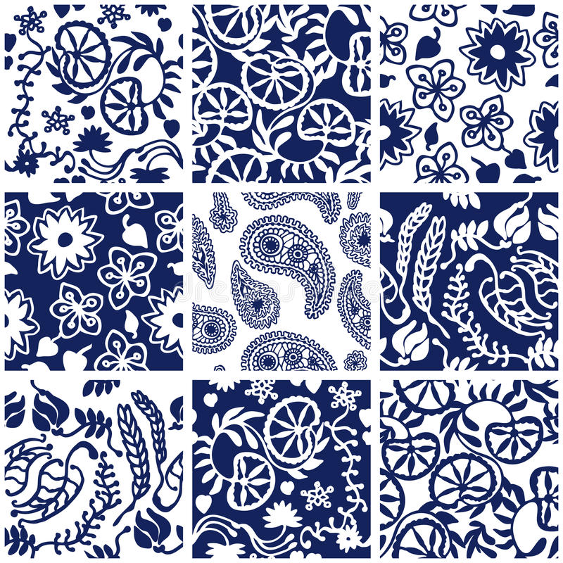 Set of Victorian seamless patterns. stock photography