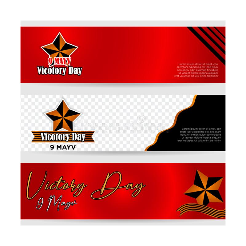 Set victory day banner freedom day_9 may banner vector royalty free illustration