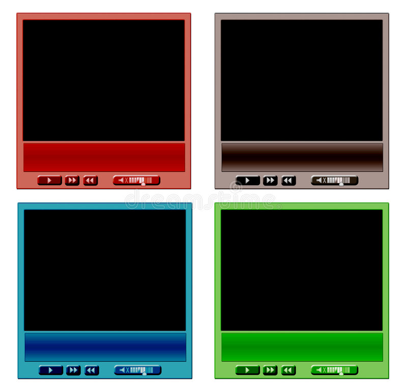 Download Set of video player stock illustration. Illustration of blue - 6348200
