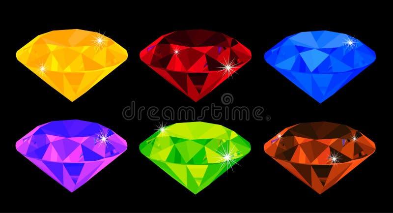 Set viel-farbige Edelsteine stock abbildung