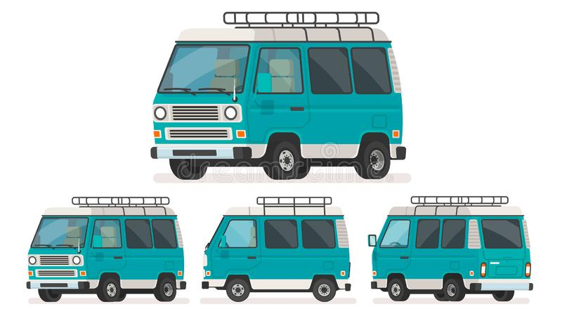 Set of views of minivan for travel. Trip van. Vector illustration vector illustration