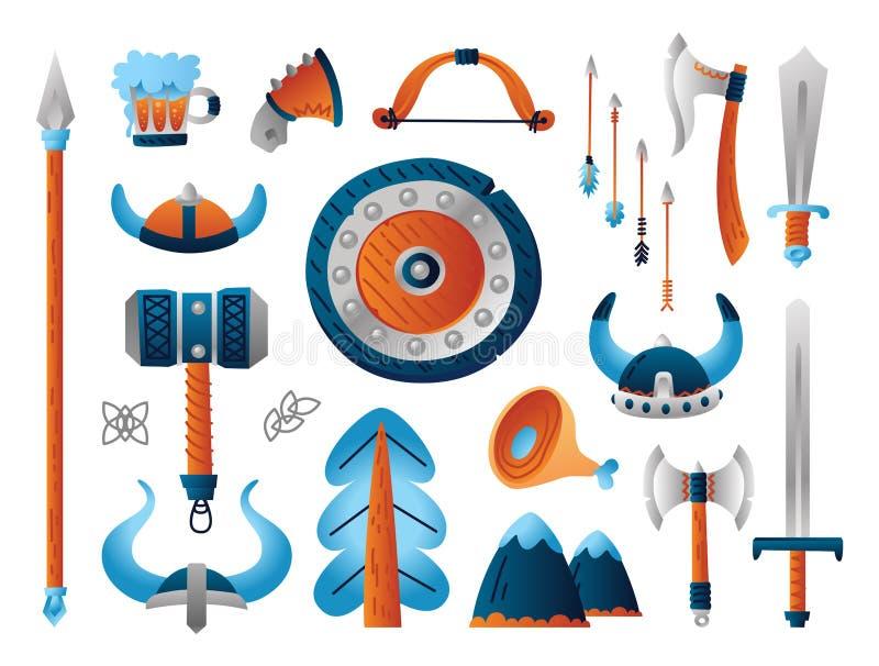 Set Viking broń Śmieszna kolekcja kreskówka wojskowego arsenał ilustracja wektor