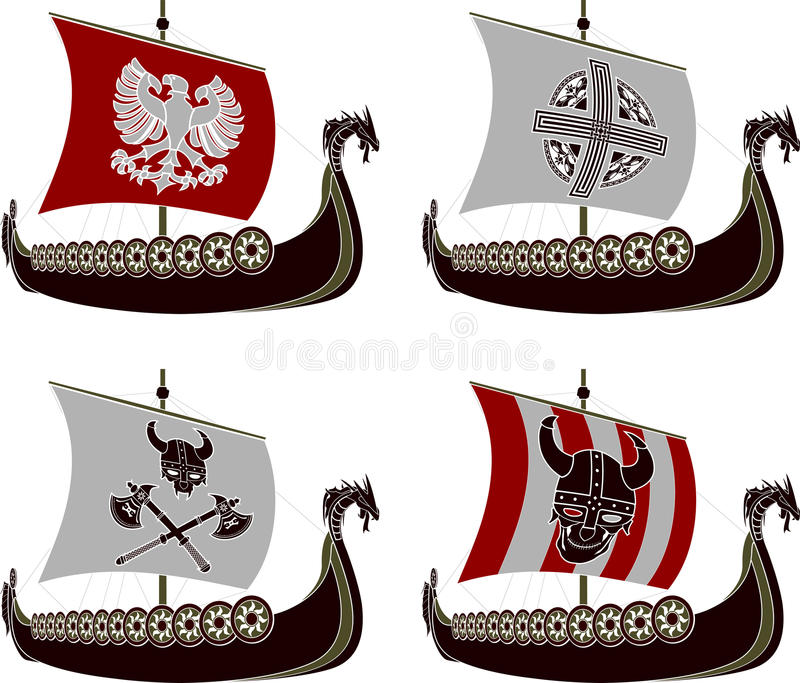 Download Set of viking drakkars stock vector. Image of scandinavian - 34008768