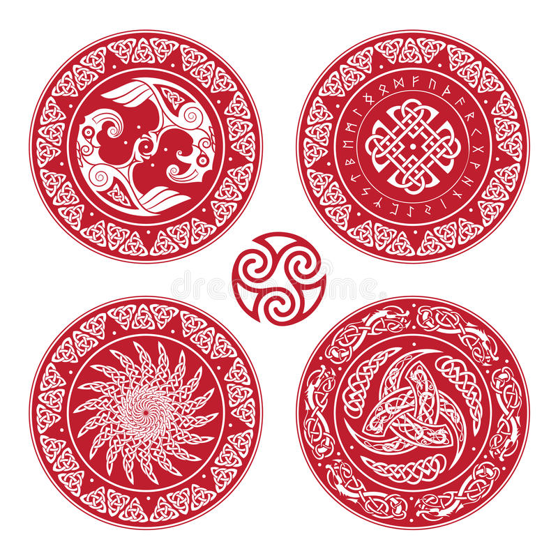 Set Viking shield, decorated with a Scandinavian pattern of dragons and Aegishjalmur, Helm of awe helm of terror. Icelandic magical staves, on white, vector stock illustration