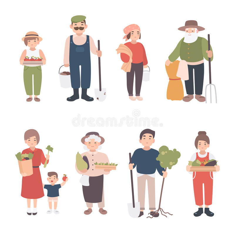 Set of village people. Different young, adult, old farmers and kids. Happy man and woman with seedlings, crops, tools royalty free illustration
