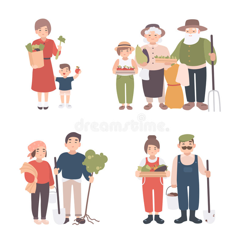 Set of village people. Different young, adult, old farmers and kids together. Happy grandparents, man and woman with. Seedlings, crops, tools. Colorful vector vector illustration