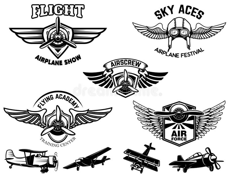 Set of vintage airplane show emblems. Design elements for logo, label, sign, menu. Vector illustration vector illustration