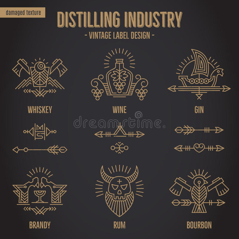 Set of vintage alcohol drink symbols with ethnic elements in thin line style. stock illustration