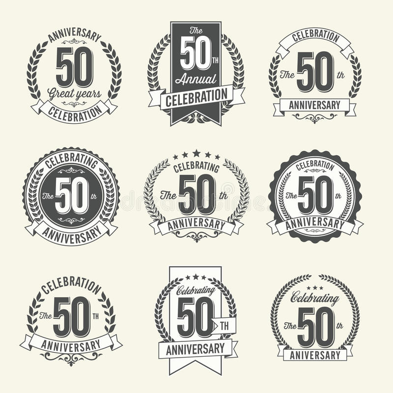 Set of Vintage Anniversary Badges 50th Year Celebration. Set of Retro Anniversary Badges 50th Year Celebration. Vector vector illustration