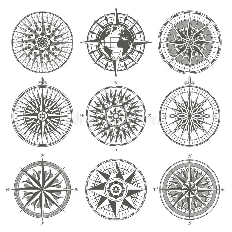 Set of vintage antique wind rose nautical compass signs labels e stock illustration
