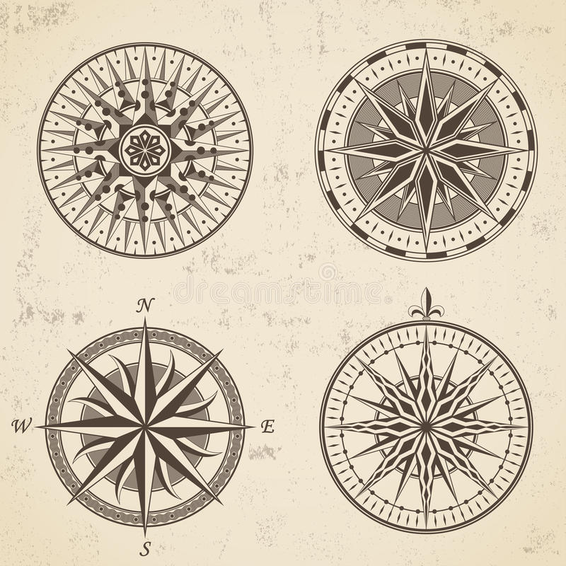 Set of vintage antique wind rose nautical compass signs labels. Emblems elements. Vector illustration royalty free illustration