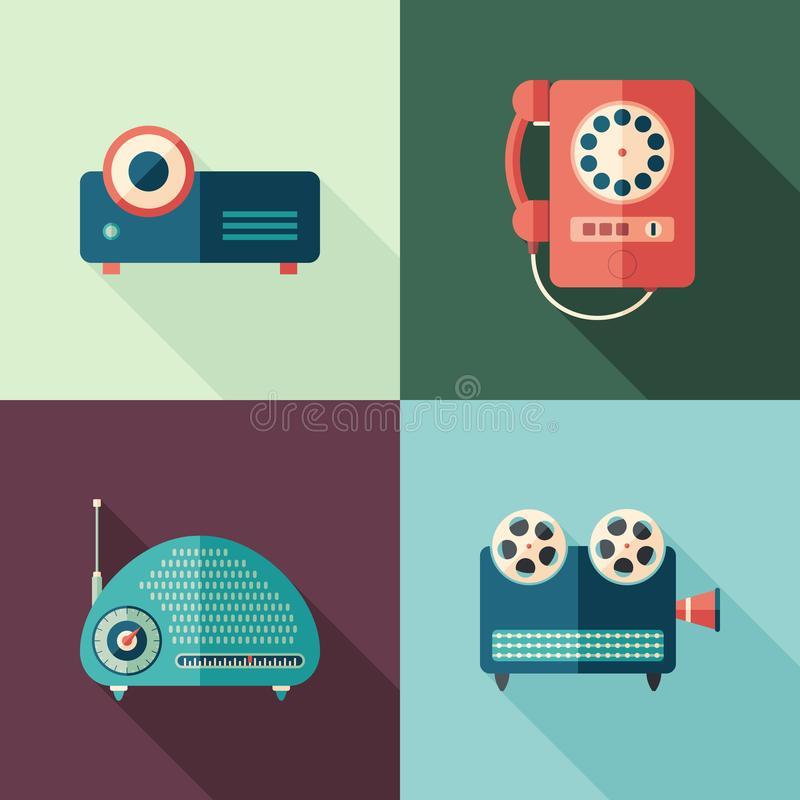 Set of vintage audio and video flat icons with long shadows. vector illustration