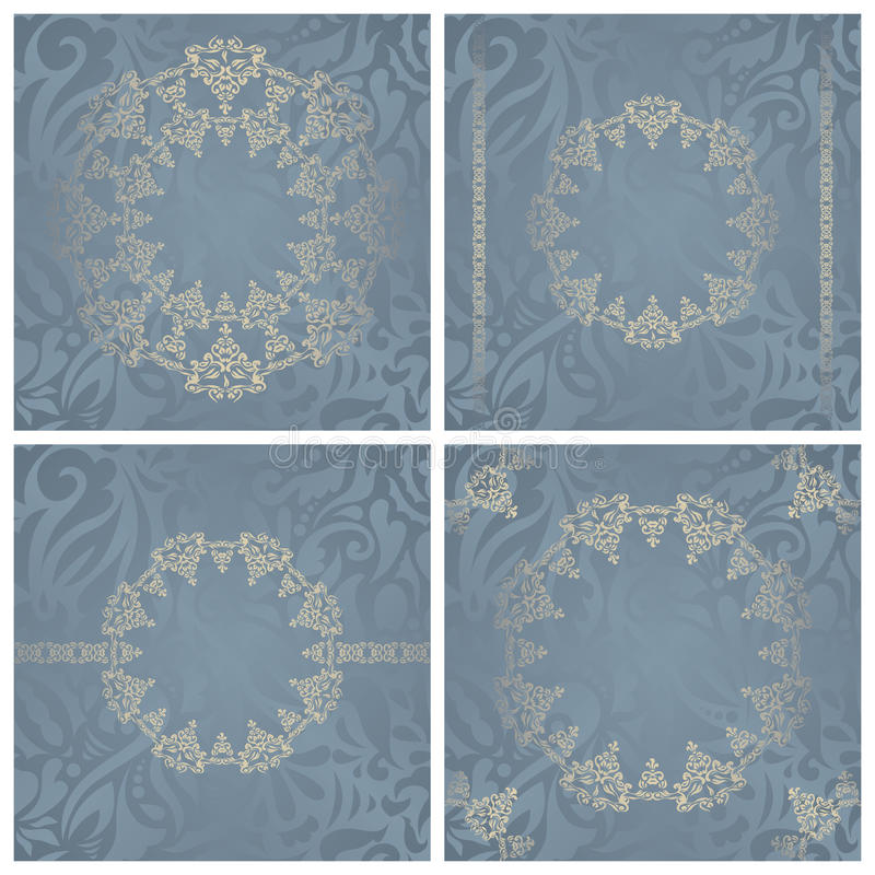 Set of vintage backgrounds. With frames and borders. Seamless floral background in pastel colors. Raster version of illustration stock illustration