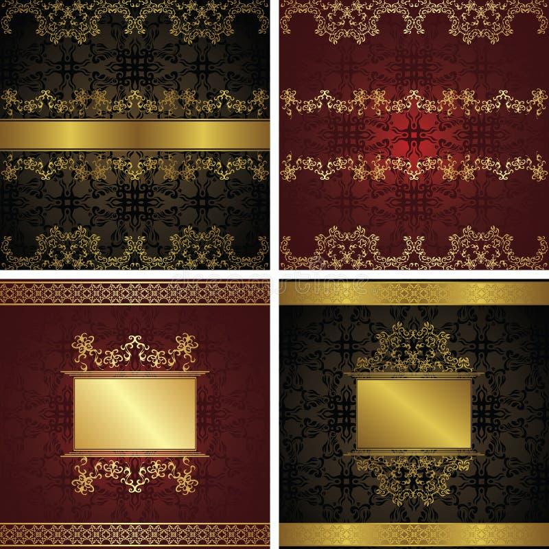 Set of vintage backgrounds with frames stock illustration