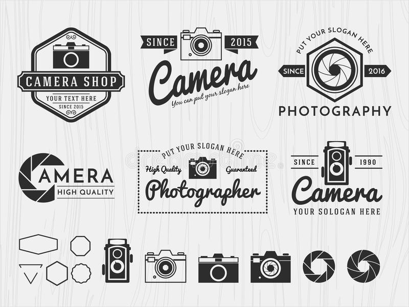 Set of vintage badge logo camera and photography design, monochrome emblem, banner, insignia, logotype and symbol icons for vector illustration