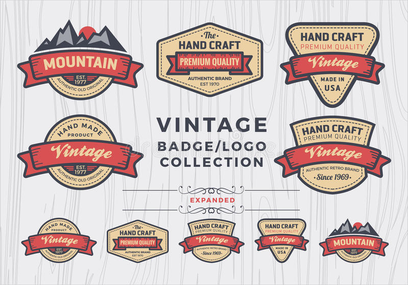 Set of vintage badge/logo design, retro badge design for logo stock illustration