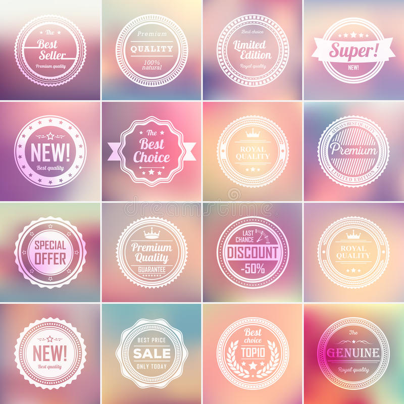 Set of vintage badges and blurred backgrounds. stock illustration