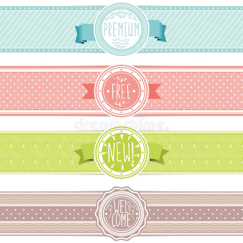Set of vintage banners stock illustration