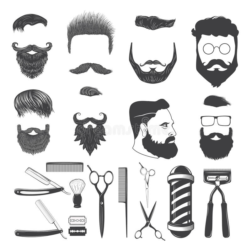 Set of vintage barber monochrome icons and design elements vector illustration