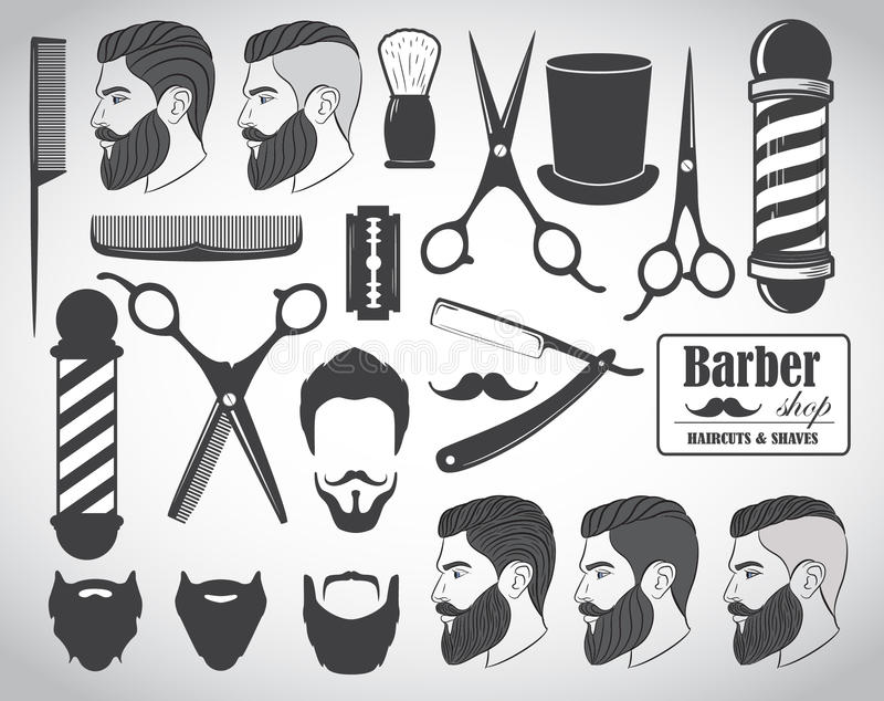 Set of vintage barber shop emblems, label, badges and designed elements stock illustration