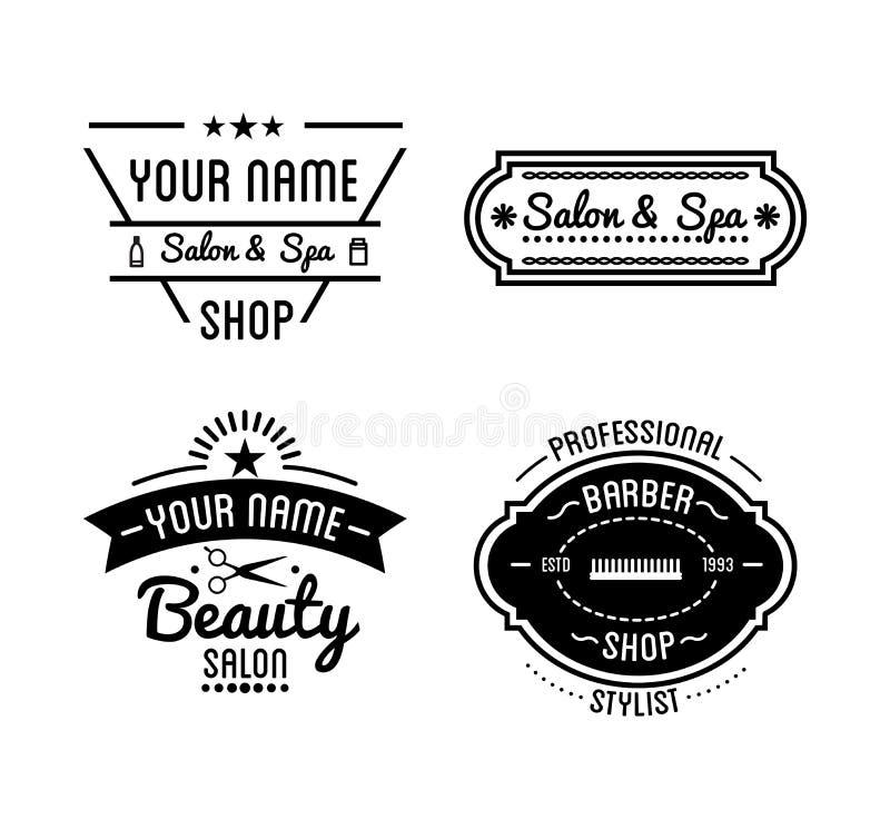 Download Set Of Vintage Barber Shop Logo And Beauty Spa Salon Badges Stock Vector