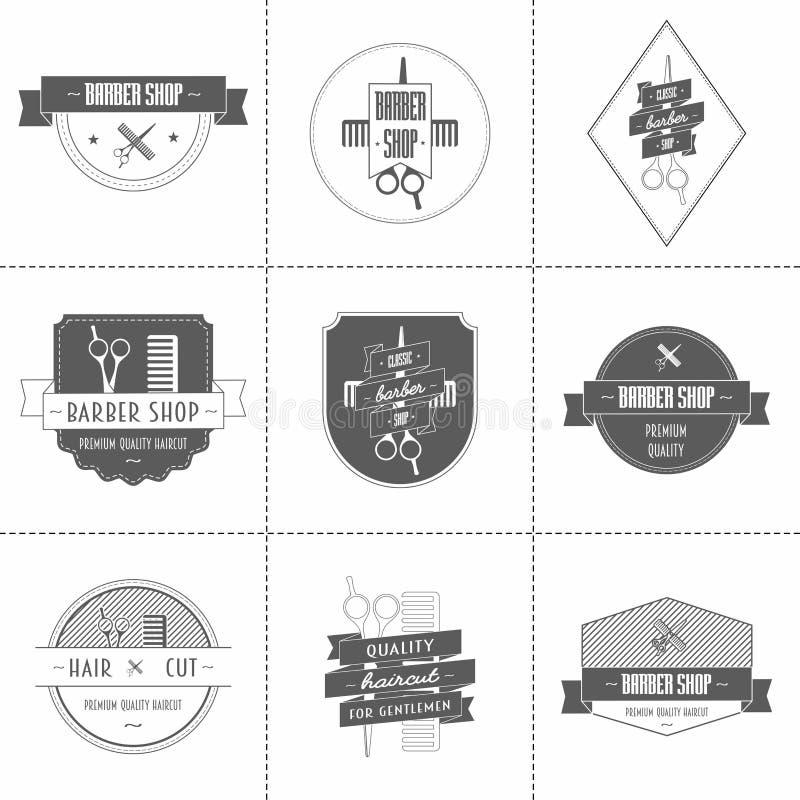 Set of vintage barber shop logo, labels, badges. And design element royalty free illustration