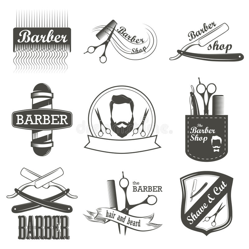 Set of vintage barber shop logo, labels, badges royalty free illustration