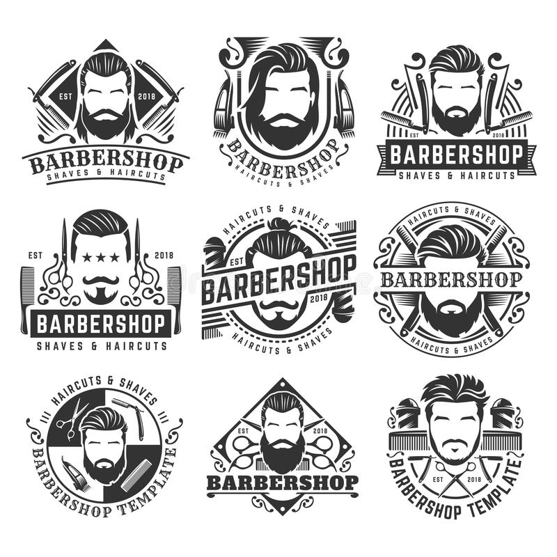 12 set of vintage Barbershop logo template collection, retro style pack, royalty free illustration