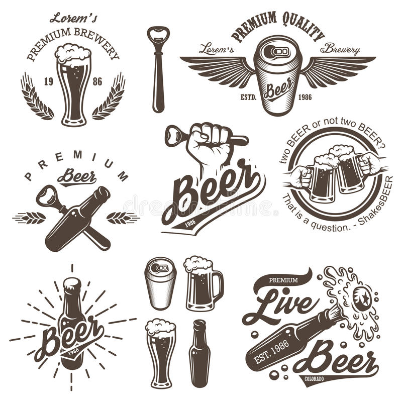 Set of vintage beer brewery emblems royalty free illustration