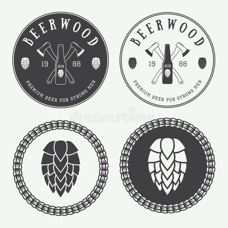 Set of vintage beer and pub logos, labels and emblems with bottles, hops, axes and wheat vector illustration