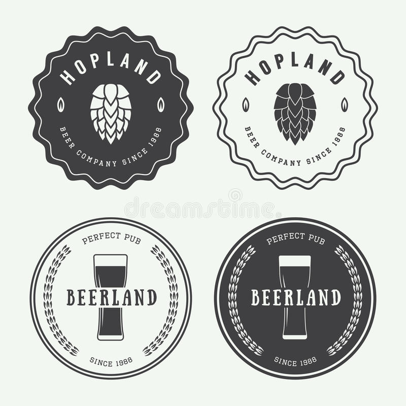 Set of vintage beer and pub logos, labels and emblems with bottles, hops, and wheat stock illustration